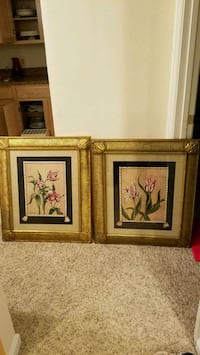 two brown wooden framed paintings of flowers Great Falls, 22066