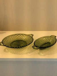 """Vintage Green Indiana Glass Co. """"Avocado"""" Relish & Pickle Dish"""