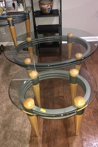 Modern glass coffee table and matching end table