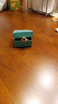 Lab created Ruby and white topaz ring, gold plated. Size 8 Fredericksburg, 22408
