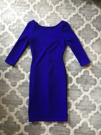 women's blue boat-neck long-sleeve sheath dress