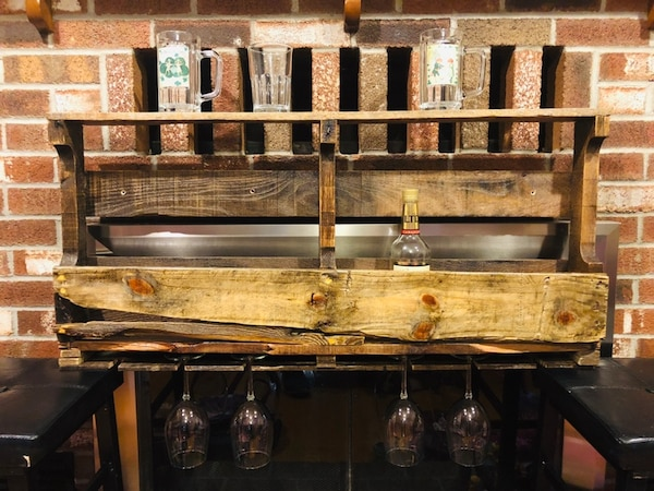 Rustic wine and liquor rack, with wine glass holder, and top shelf for  glasses