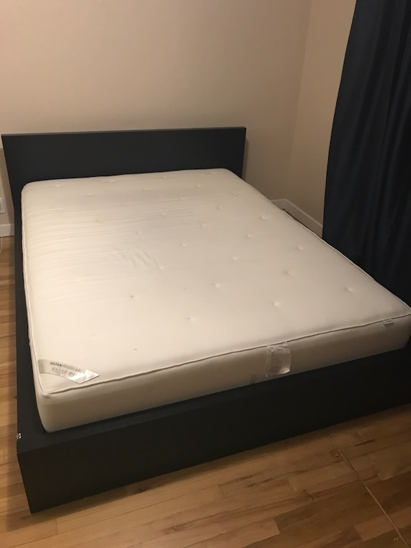 Used IKEA MALM low bed frame with Sultan Hasselback mattress