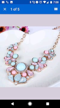 pink and teal beaded pendant necklace screenshot Rockville, 20850
