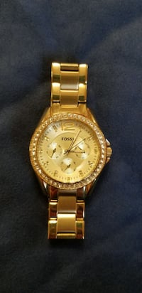 Fossil gold rhinestone watch