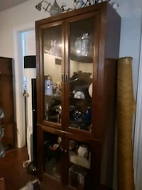 brown wooden framed glass display cabinet Thorold, L0S 1A0