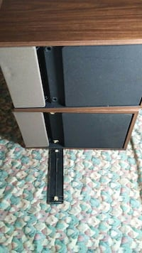 two black-and-brown subwoofer speakers