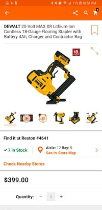 NEW Dewalt DCN682M1 18ga Flooring Stapler, TRADE Reston, 20191