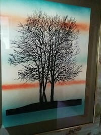 black bare tree painting with gold frame Hamilton, L9C 5K7