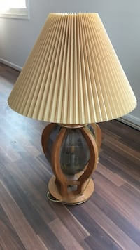 brown wooden base table lamp with white lampshade Upper Marlboro, 20772