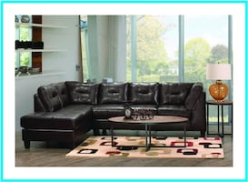 Chocolate Sectional Couch with Chaise