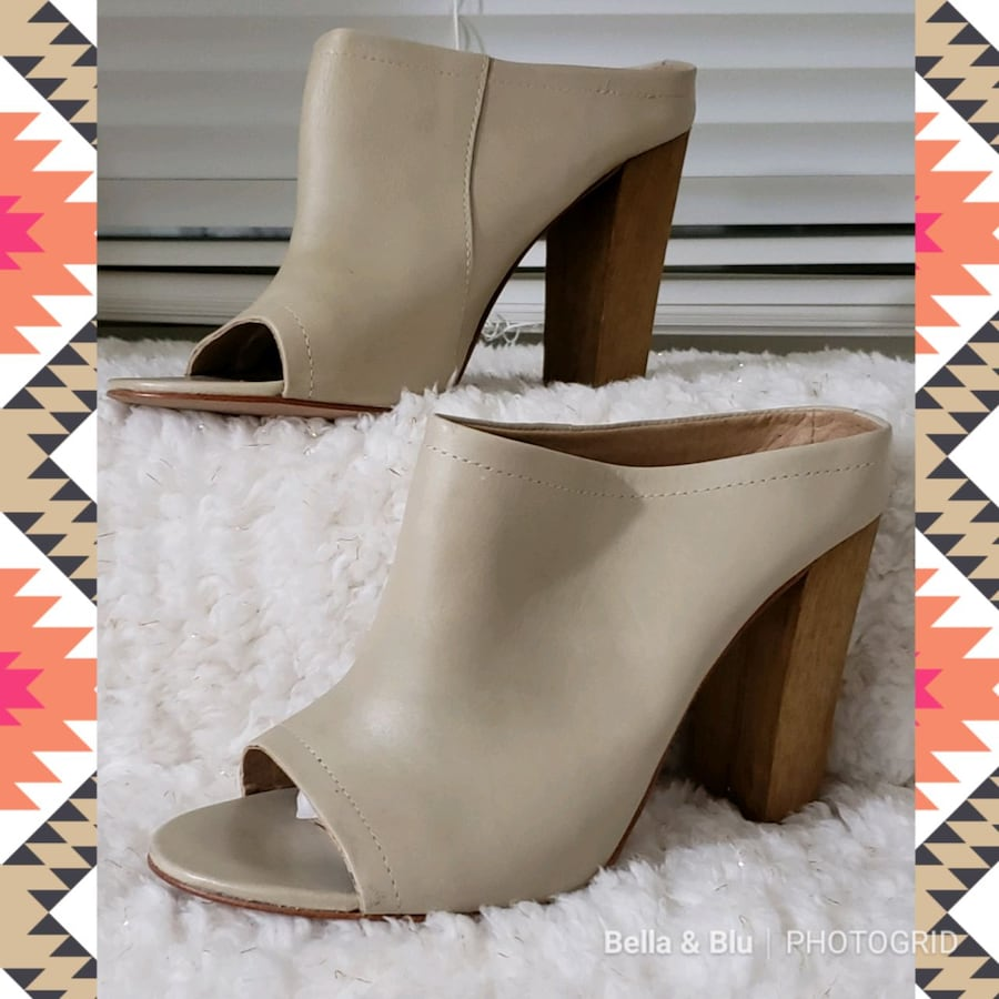 Shoemint Miller Leather Peep-Toe Dress Mules dcec3b57-b24e-4040-9973-dea2c334d997