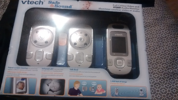 gray and white Vtech safe & sound monitor box