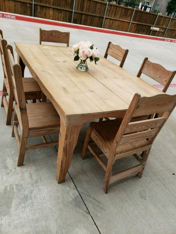 Outstanding Natural Wood Shaker Dining Table With Six Chairs Ibusinesslaw Wood Chair Design Ideas Ibusinesslaworg