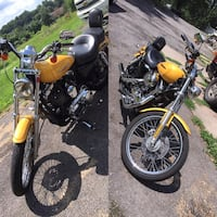 yellow and black cruiser motorcycle collage