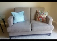 Brown fabric 2- loveseat sofa and matching chair