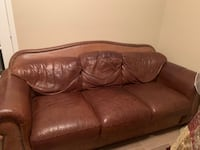 Haverty's Leather sofa and large chair with ottman.