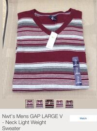 Large white and red stripe Gap v-neck sweater Erie, 16501