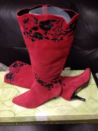 Red and black floral kitten heel knee high boots