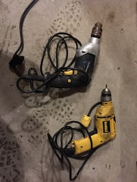 two black and yellow corded hand drills Brampton, L6X 3T2