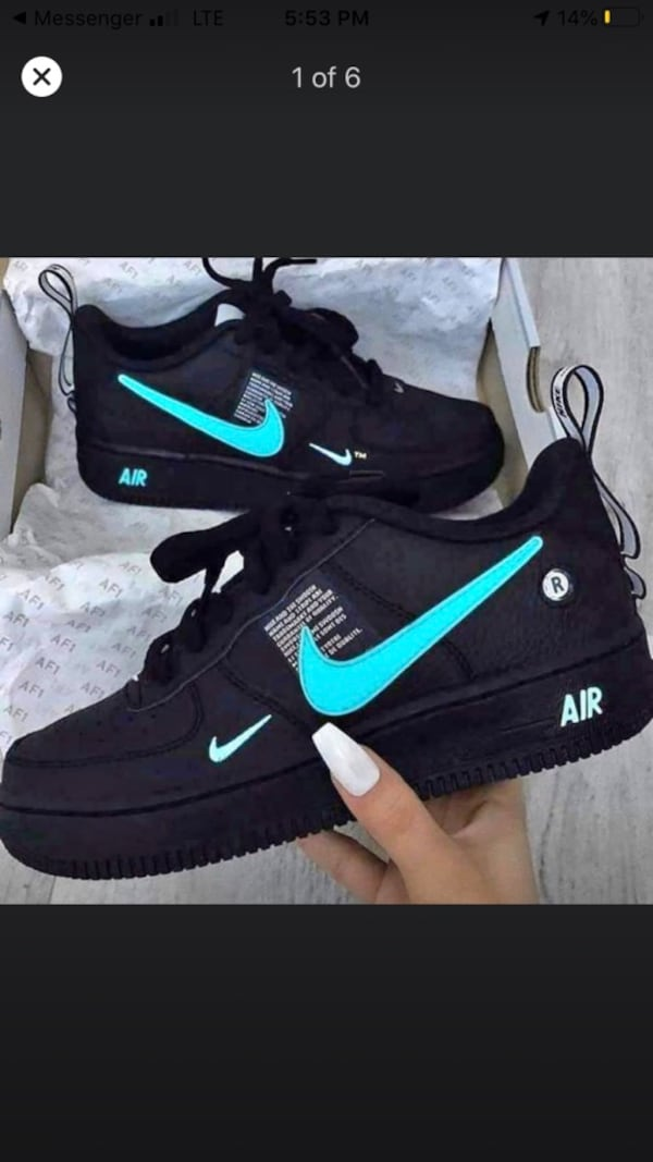 Used Nike Air Force 1 Black Blue Size 10 Custom For Sale In