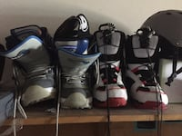 Snowboard boots and helmets with goggles 517 km