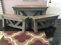 Custom Farmhouse Dining Table And Benches