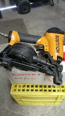 black and yellow Bostitch roof nailer