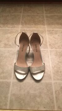 pair of gray open-toe ankle strap heels Waverly Hall, 31831