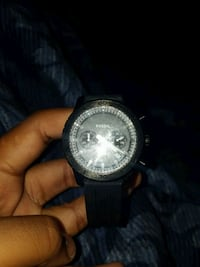 round silver chronograph watch with black strap West Palm Beach, 33411
