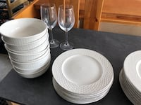 Two white ceramic plates and bowls Langley, V2Y 1S9