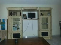 brown wooden cabinet with hutch with flat screen m Orlando, 32810