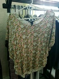 women's brown and white floral blouse Merrick, 11566