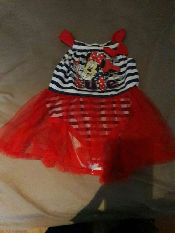 Used Toddler Girls Red Black And White Minnie Mouse Tutu Dress