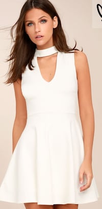 Women's white key-hole sleeveless mini dress Ashburn