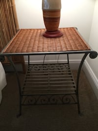 Wrought iron and rattan side table AND lamp!  Frederick, 21701