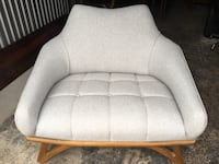 Newly upholstered mid century modern oversized lounge chair