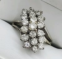14K White Gold waterfall diamond cluster Ring 2.85 carats