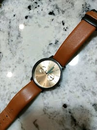 round gold analog watch with brown leather strap Edmonton, T5H 3S4
