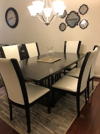 rectangular black wooden table with six chairs dining set Accokeek, 20607