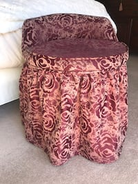 Burgundy skirted fabric swivel makeup vanity stool chair