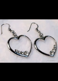 Silver plated heart earrings with crystals Edmonton, T6E 2C5