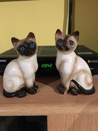 Statuette antique 1950 en porcelaine chat siamois impecable 10/10