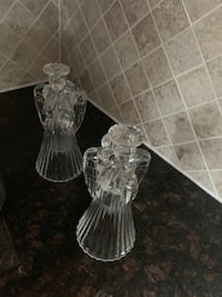Christmas decor - Vintage Clear Glass Angel Candle Holders - 1960s Markham, L3T 3H9