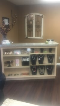 Receiption desk with glass sliding display and draws behind desk Newport News, 23607