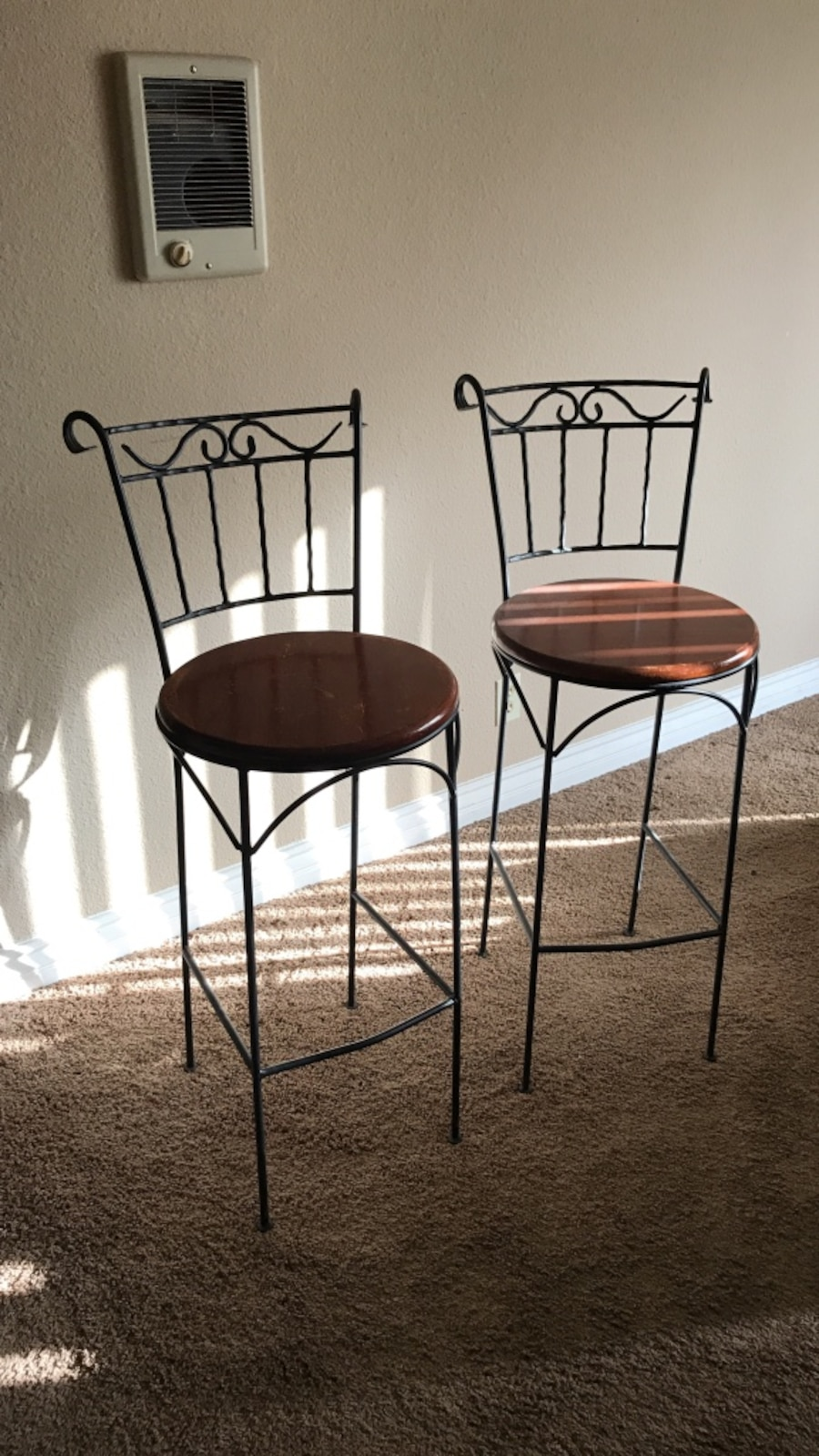 Used 2 Bar Stools Black And Brown In San Diego