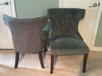 two black wooden framed gray padded armchairs Germantown, 20874