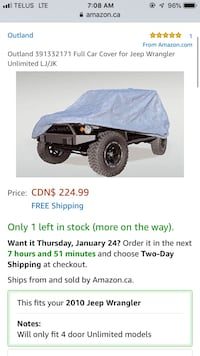 Jeep Wrangler unlimited cover  [TL_HIDDEN]  Outland by rugged ridge brand new never used $225+ retail  Hamilton, L8M 2B5