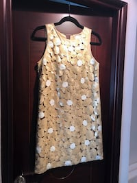 women's white and blue floral sleeveless dress Tam Mei