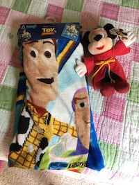 Toy Story blanket and Mickey Mouse stuffed Toy